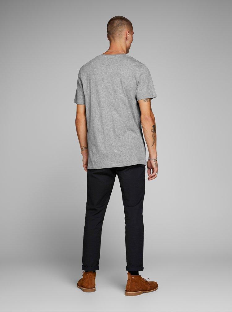 Sivé melírované tričko s potlačou Jack & Jones Rocked