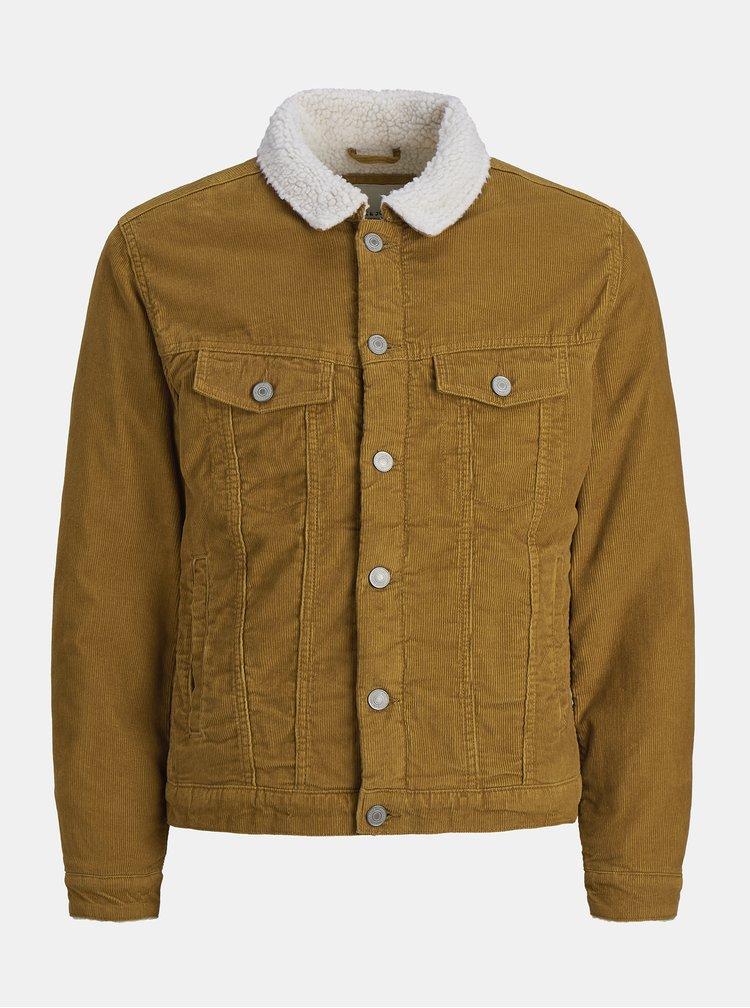 Hnedá menčestrová bunda s umelou kožušinkou Jack & Jones Alvin