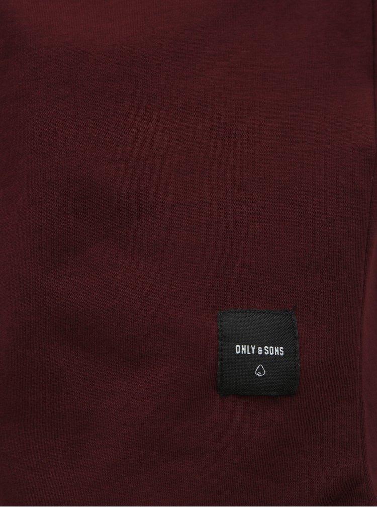 Vínové basic tričko ONLY & SONS Matt