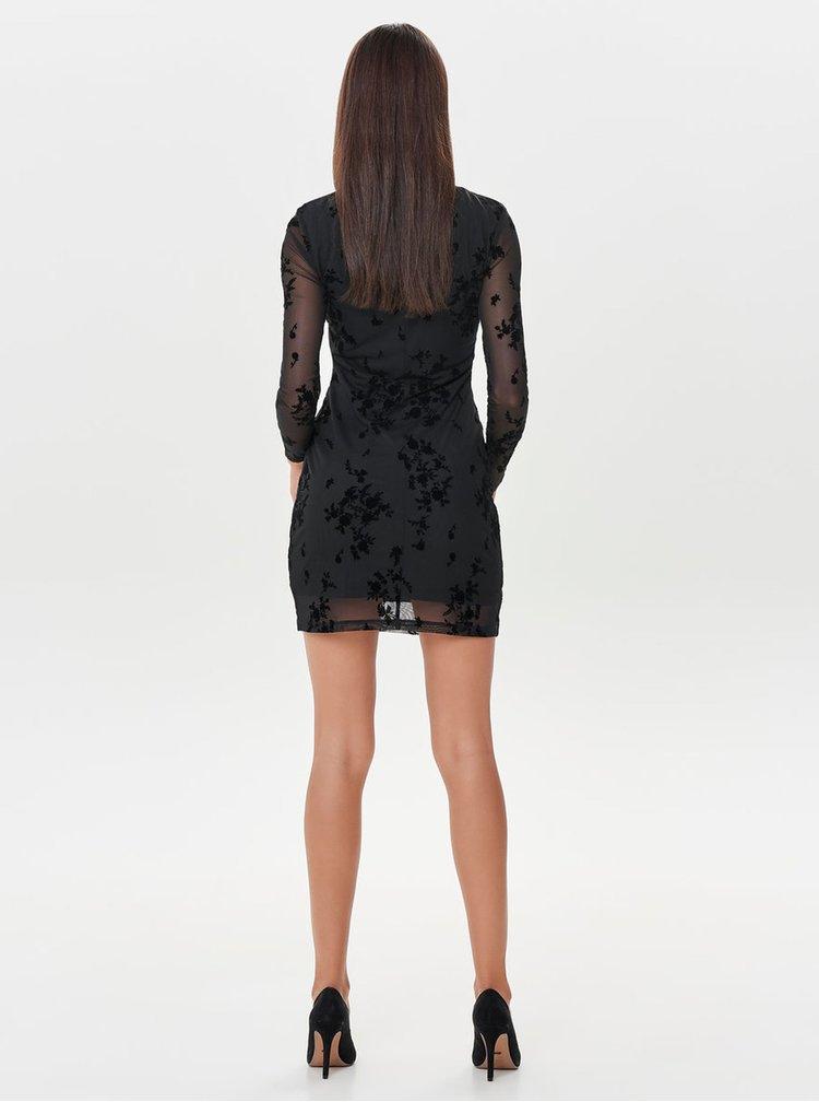 Rochie neagra cu detalii din piele intoarsa ONLY