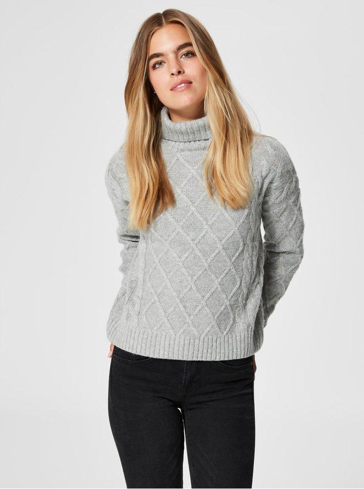 Pulover gri oversize cu guler inalt si amestec de lana Selected Femme Carmi