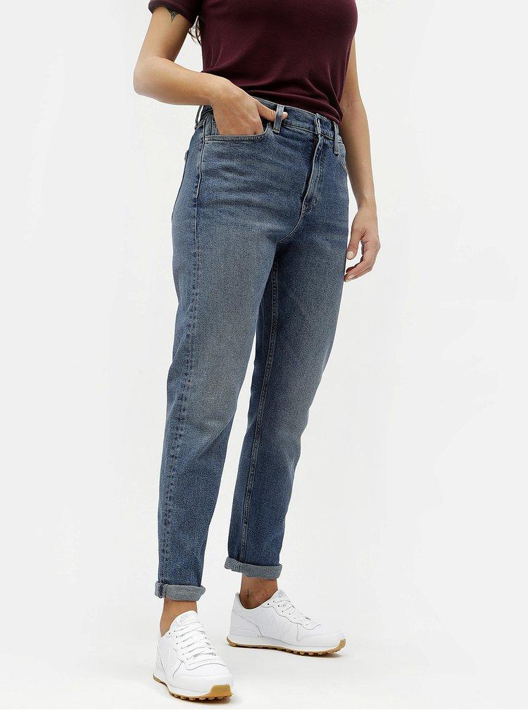 Modré dámske rifle s vysokým pásom Calvin Klein Jeans