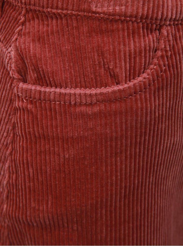 Starorůžová manšestrová sukně s roztřepeným lemem ONLY