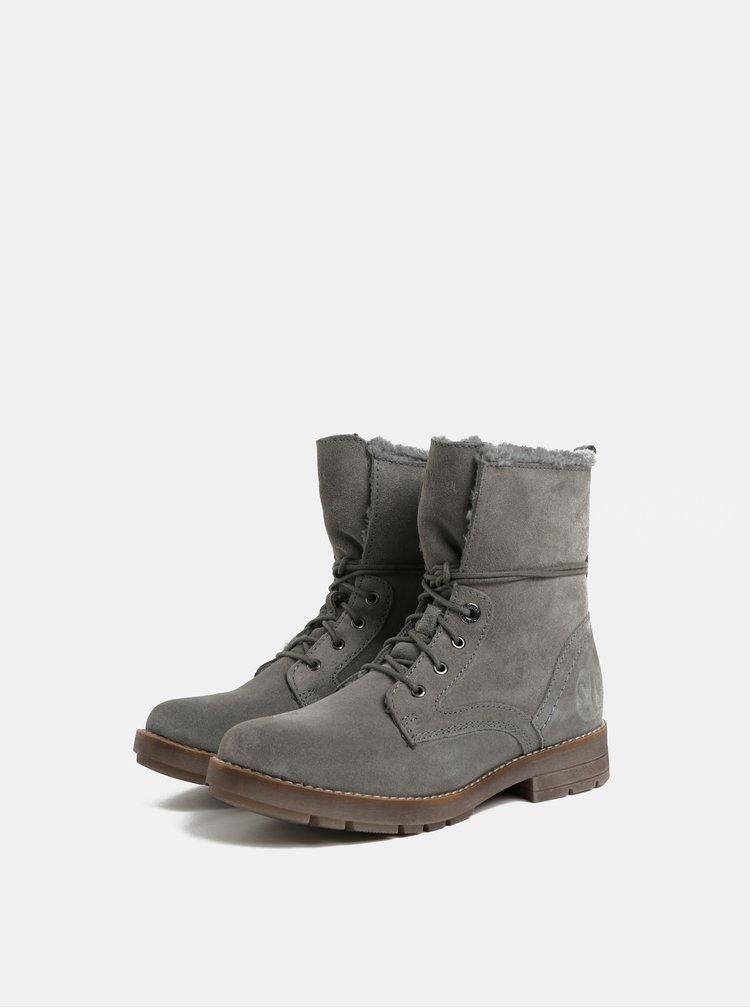 Šedé dámské semišové zimní kotníkové boty s.Oliver