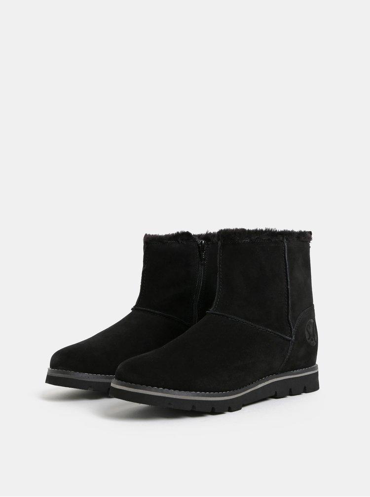 Čierne dámske semišové zimné topánky s umelou kožušinkou s.Oliver