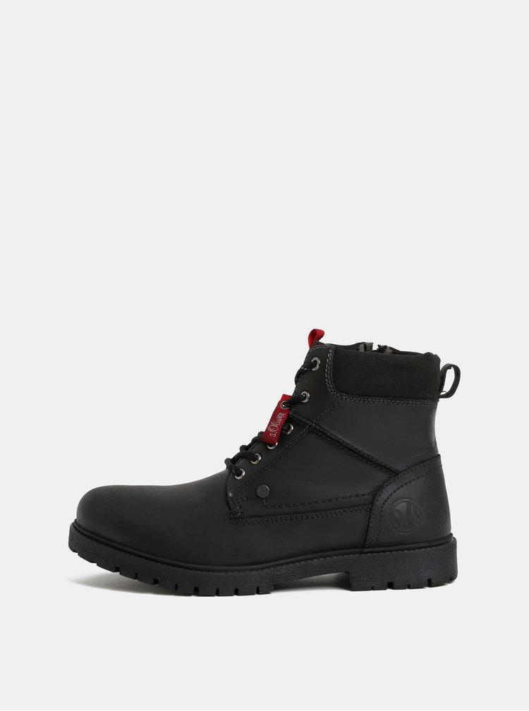 Černé pánské kožené kotníkové zimní boty s.Oliver