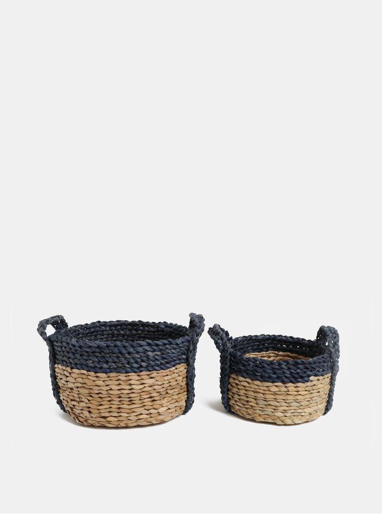 Sada dvou kulatých košů z kukuřičného listu v béžové a modré barvě Kaemingk