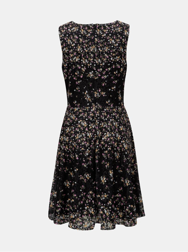 Rochie neagra din dantela cu model floral Apricot