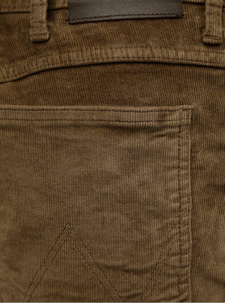 Hnědé pánské manšestrové kalhoty Wrangler Arizona