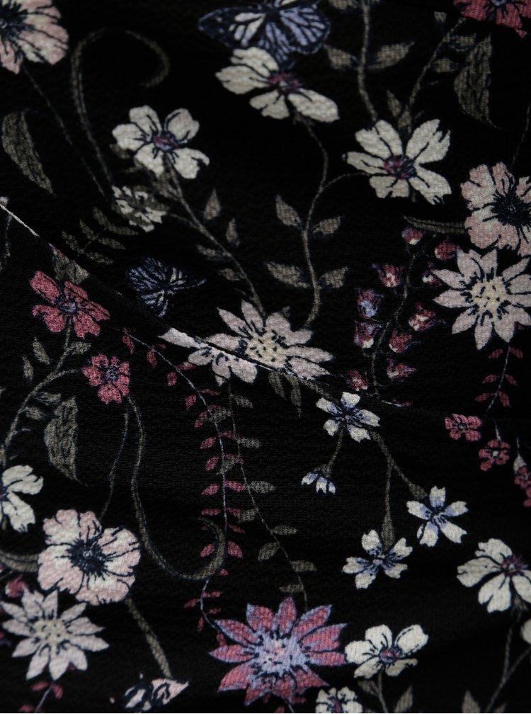 Čierna kvetovaná zavinovacia blúzka s prestrihom na chrbte Apricot
