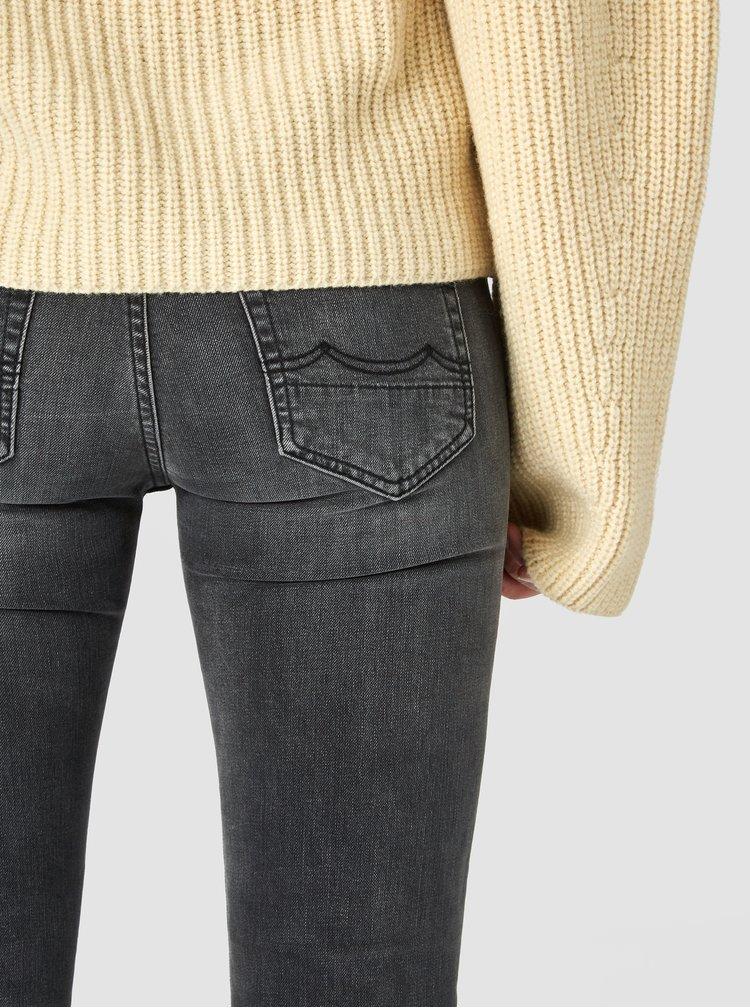 Šedé dámské slim fit džíny s vyšisovaným efektem Kings of Indigo