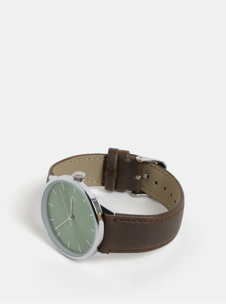Ceas unisex cu curea maro din piele vegan CHPO Khorshid Olive Metal