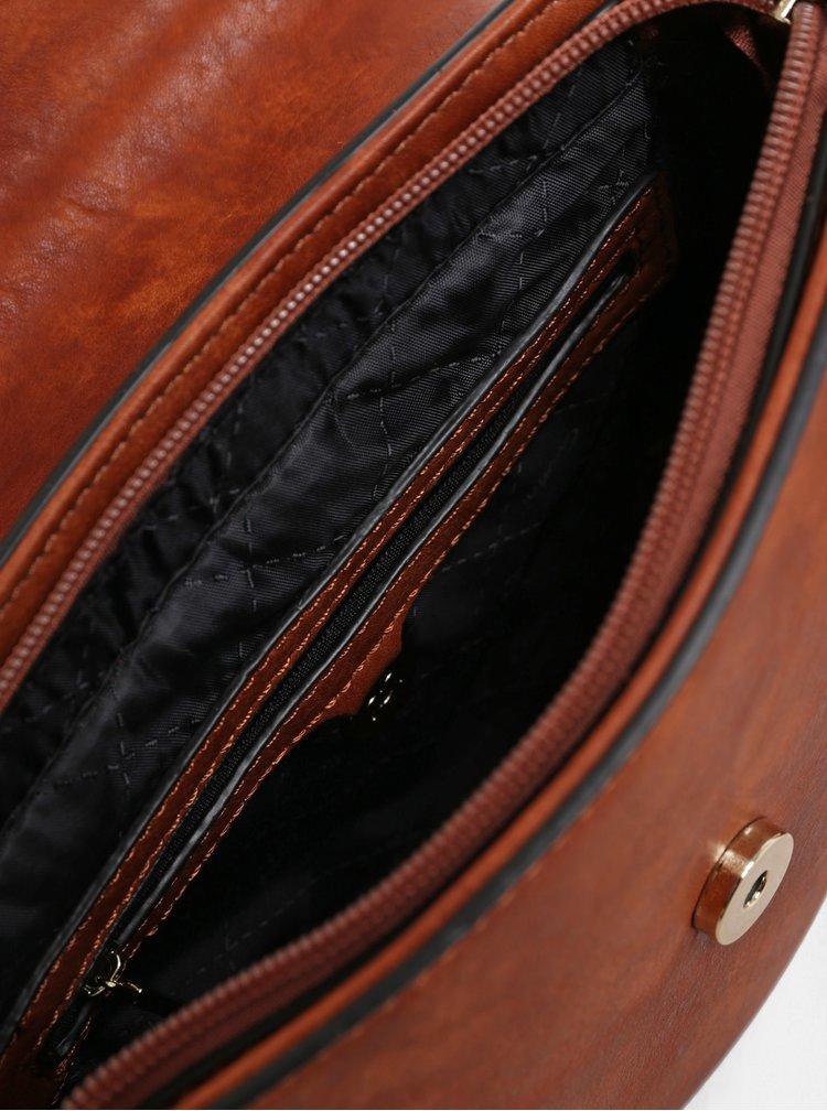 Tmavě hnědá crossbody kabelka s ozdobným prošíváním Gionni