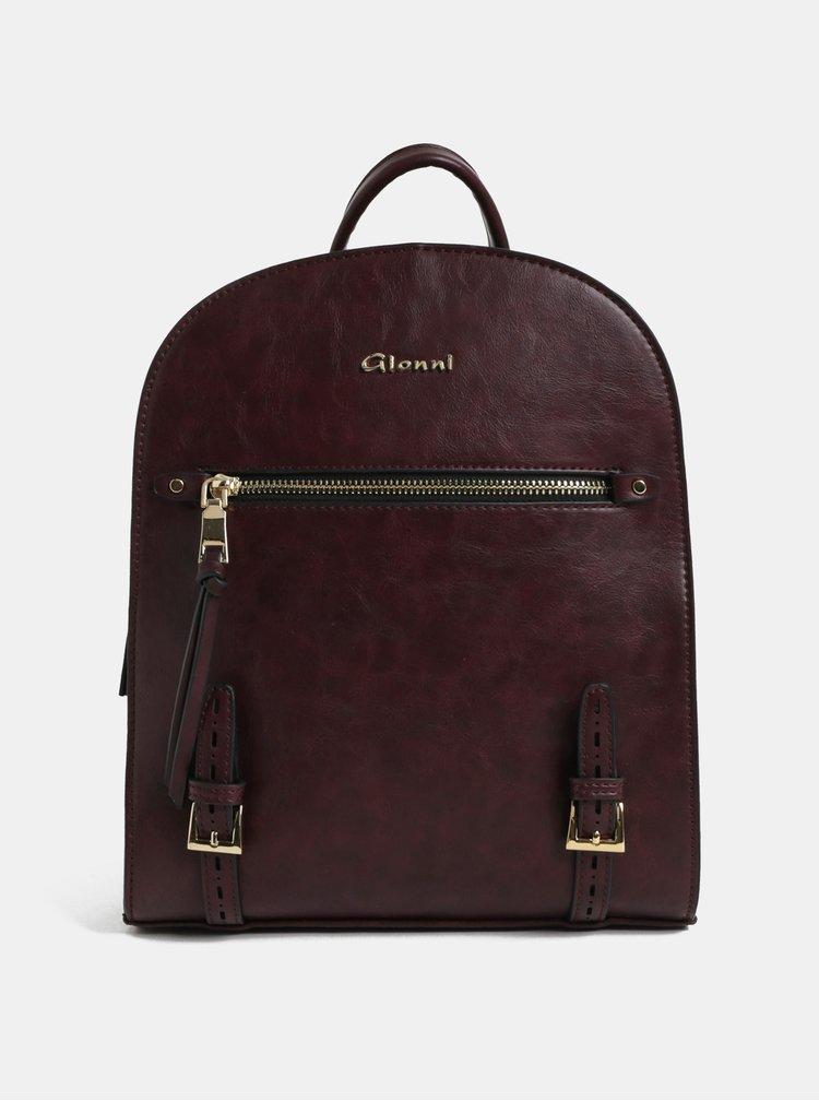 Vínový batoh s detailmi v zlatej farbe Gionni
