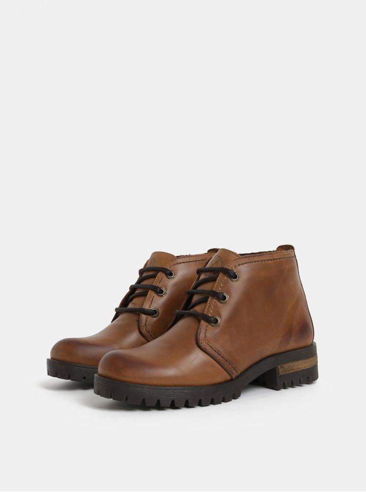 Hnedé členkové kožené topánky OJJU