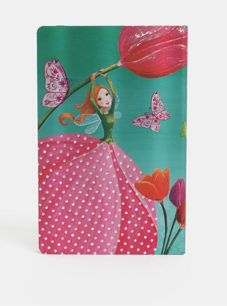 Růžovo-zelený týdenní diář na rok 2019 s motivem víly Paperblanks