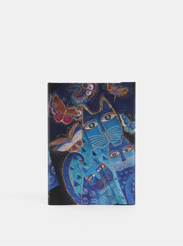 Modrý týdenní diář na rok 2019 s motivem koček Paperblanks