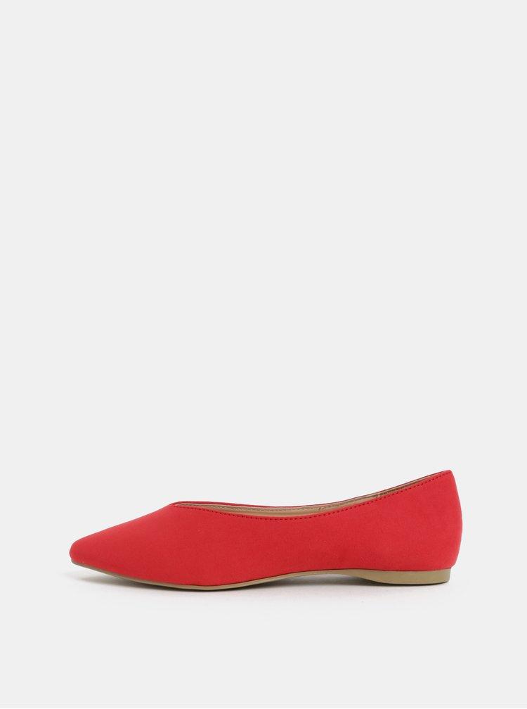 Červené baleríny v semišové úpravě Dorothy Perkins Pria