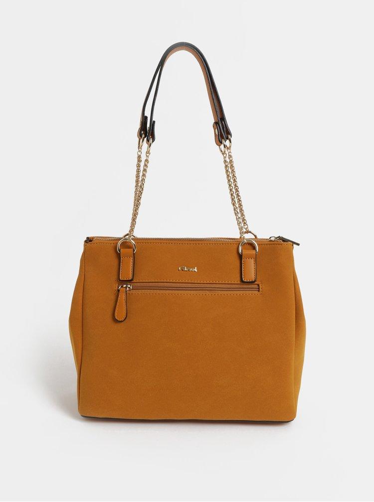 Hnedá kabelka v semišovej úprave Gionni