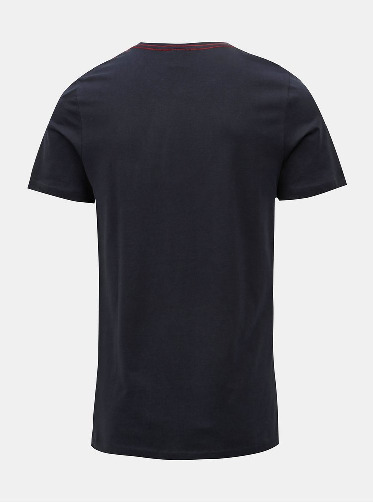 Tricou albastru inchis cu print Jack & Jones Rico