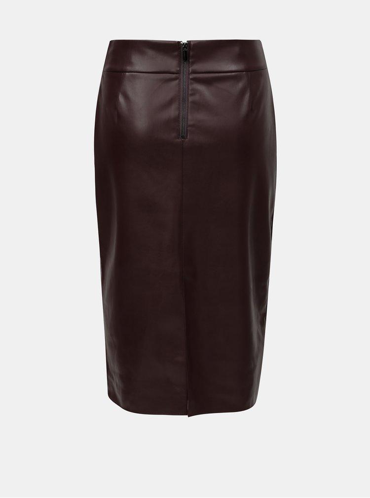 Vínová koženková pouzdrová sukně s rozparkem Dorothy Perkins