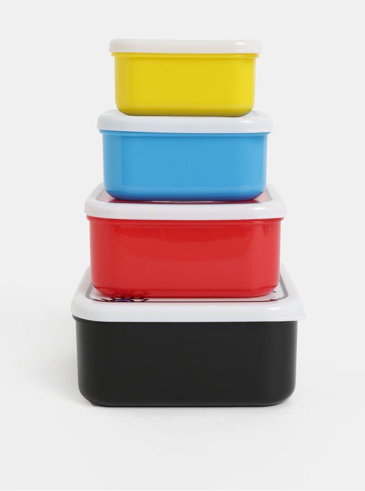 Sada čtyř svačinových boxů v černé, červené, modré a žluté barvě Mustard