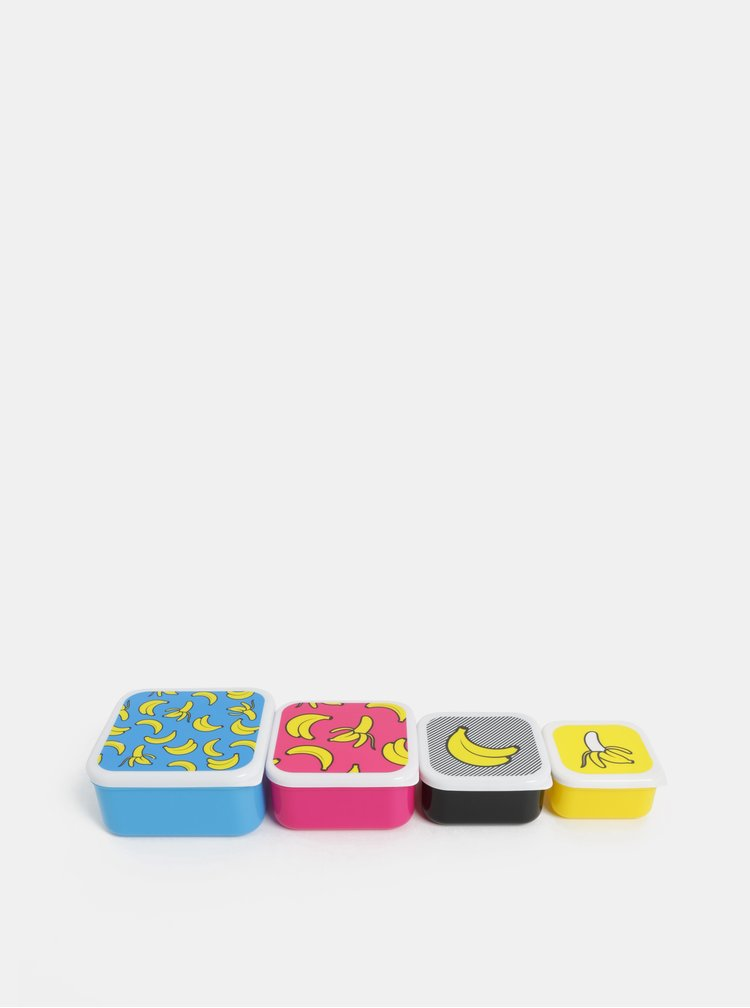 Balenie štyroch desiatových boxov v modrej, ružovej, čiernej a žltej farbe Mustard