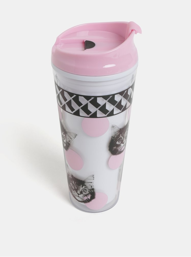 Růžovo-bílý cestovní hrnek s motivem koček Mustard
