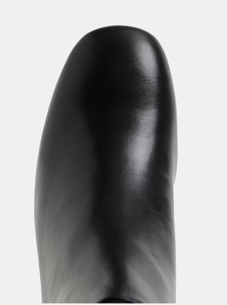 Cizme de dama negre din piele cu toc cu aspect metalic Vagabond Jeena
