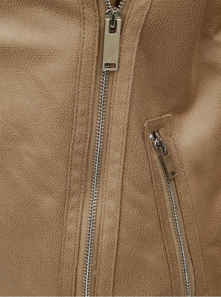 Béžový koženkový křivák s umělým kožíškem Dorothy Perkins