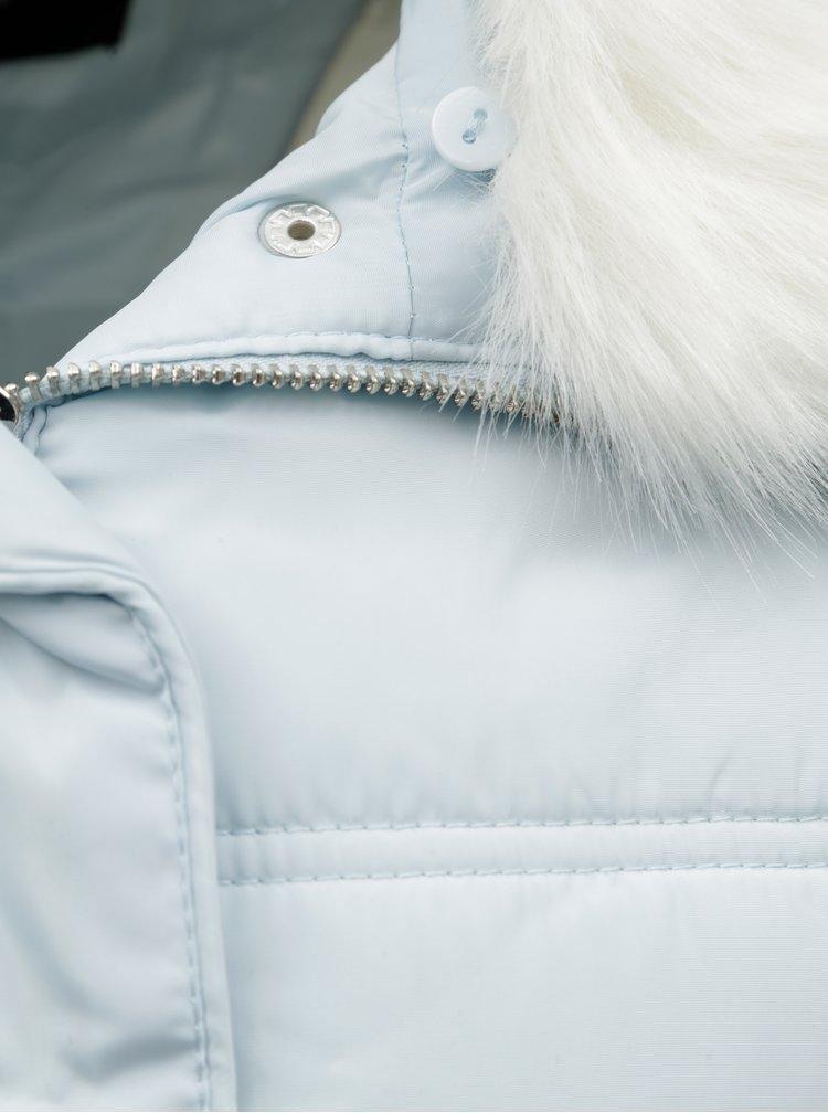 Svetlomodrá prešívaná bunda s umelou kožušinkou Dorothy Perkins