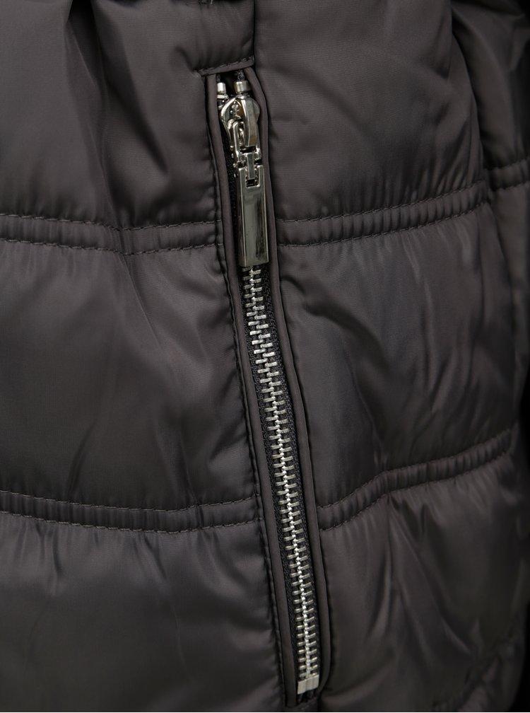 Šedá prošívaná bunda s umělým kožíškem Dorothy Perkins