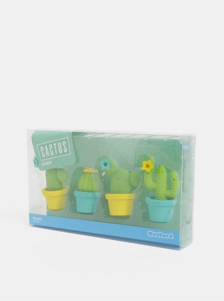 Balenie štyroch gúm v tvare kaktusov v zelenej a žltej farbe Mustard