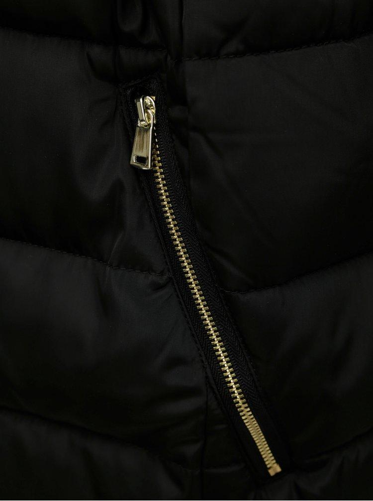 Černý prošívaný kabát s umělým kožíškem Dorothy Perkins Tall