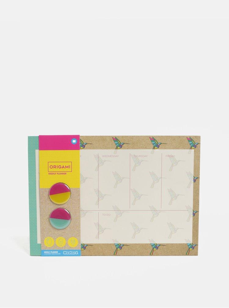 Planificator verde-maro cu motiv pasari colibri si 2 magneti Mustard