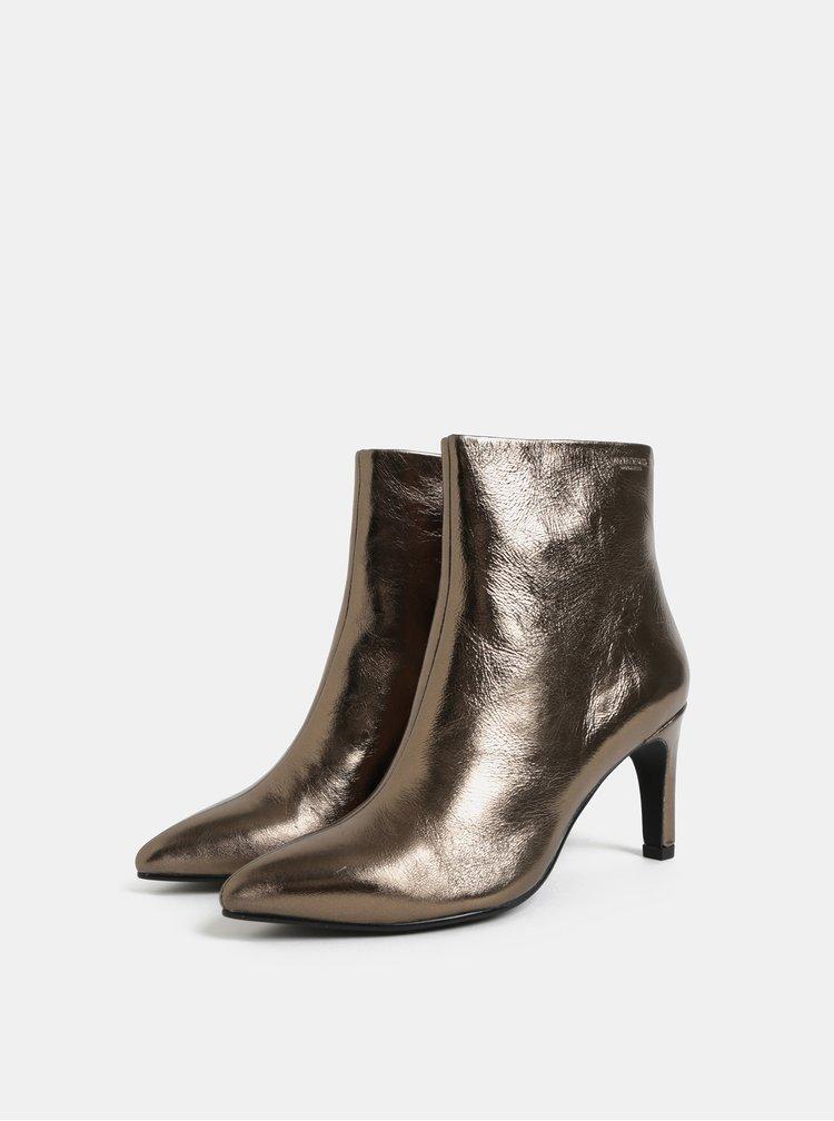 Metalické dámské kožené kotníkové boty ve zlaté barvě Vagabond Whitney