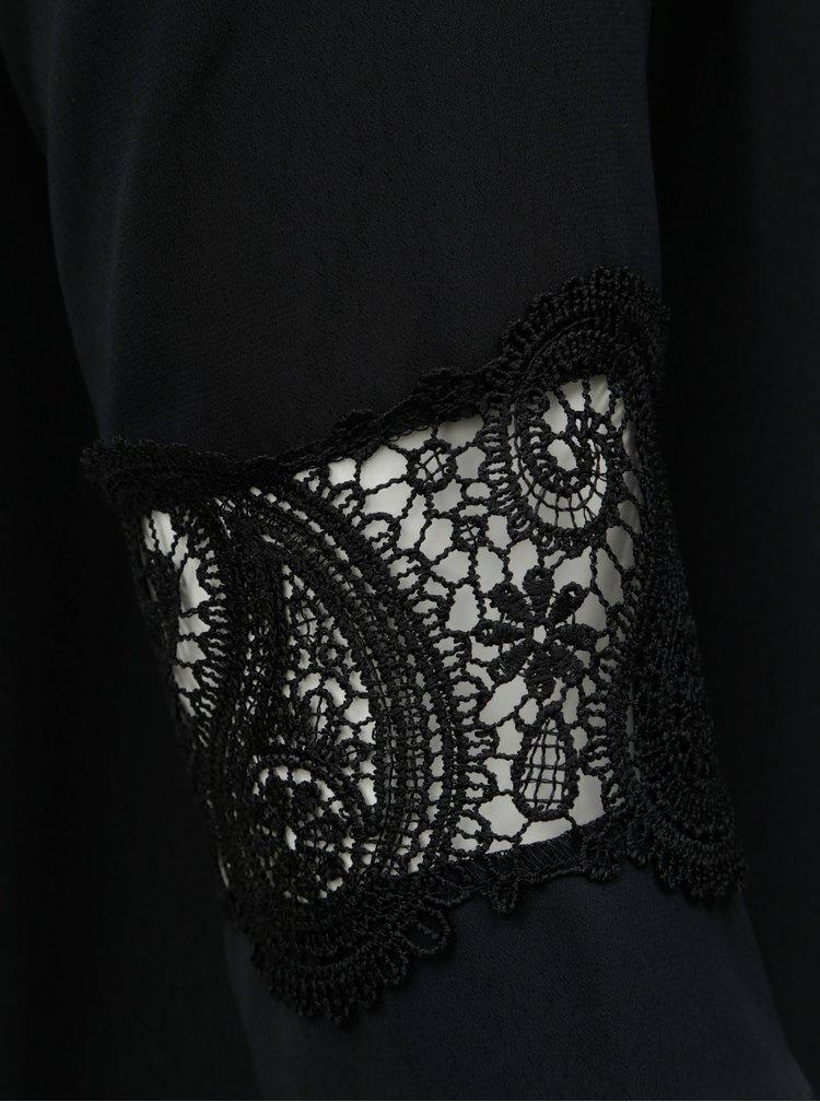 Černá halenka s krajkou a 3/4 rukávem Dorothy Perkins Curve
