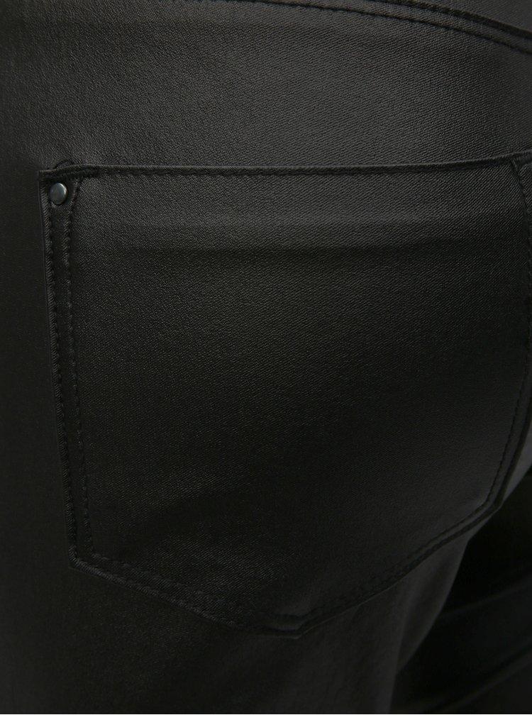 Černé koženkové skinny kalhoty Dorothy Perkins Petite