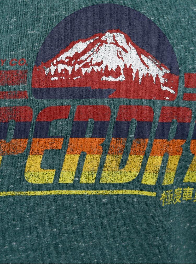 Zelené pánské žíhané tričko s potiskem Superdry Mountain Trail Ringer