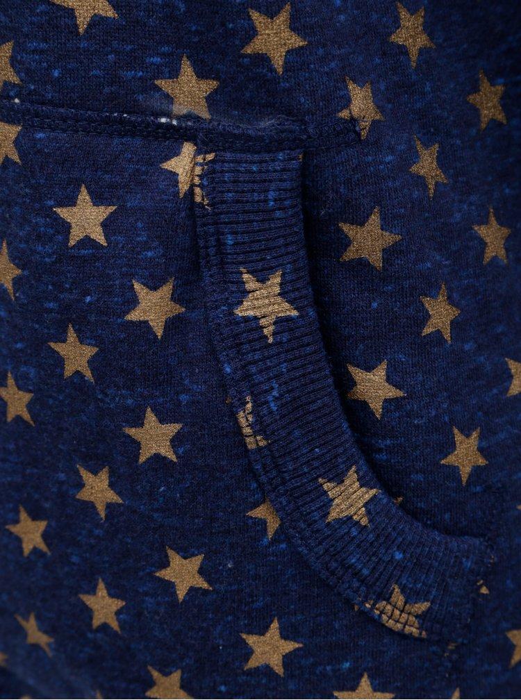 Tmavomodrá dámska melírovaná mikina s potlačou a motívom hviezd Superdry Vintage Logo Star