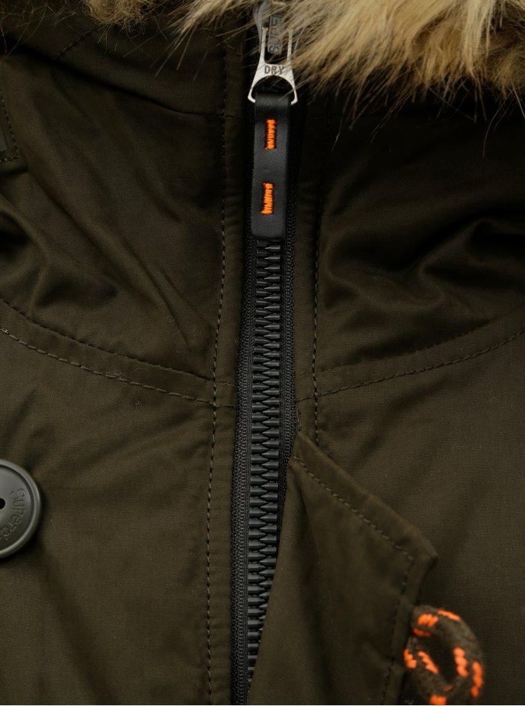 Khaki pánská parka s odnímatelným umělým kožíškem Superdry SDX