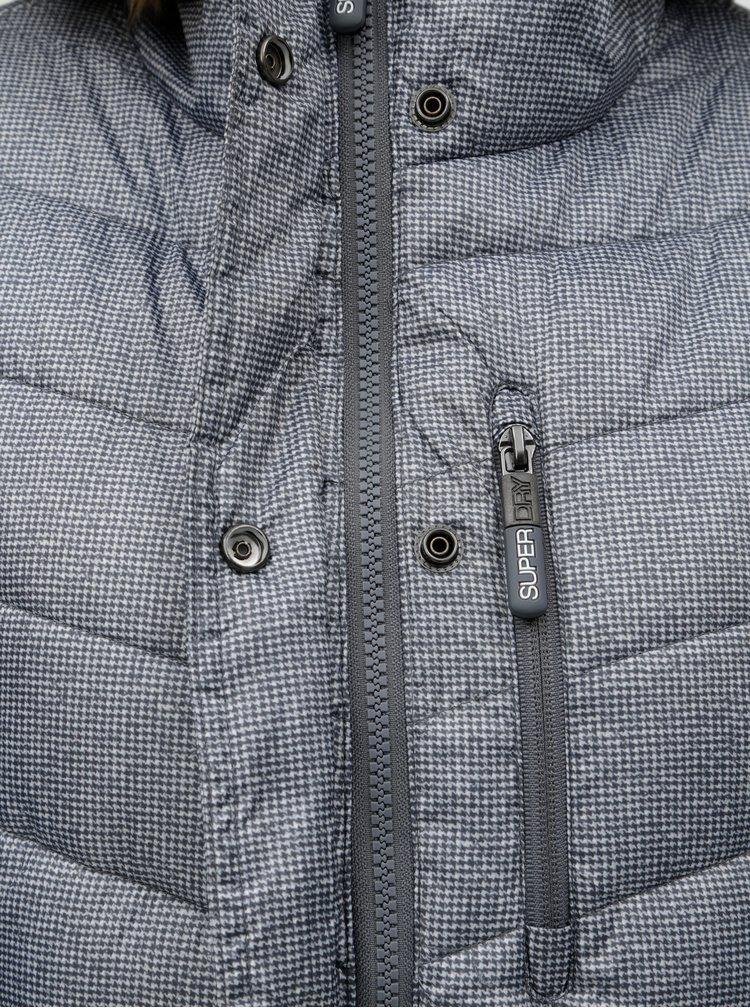 Šedý dámský prošívaný kabát s odnímatelným umělým kožíškem Superdry Chevron