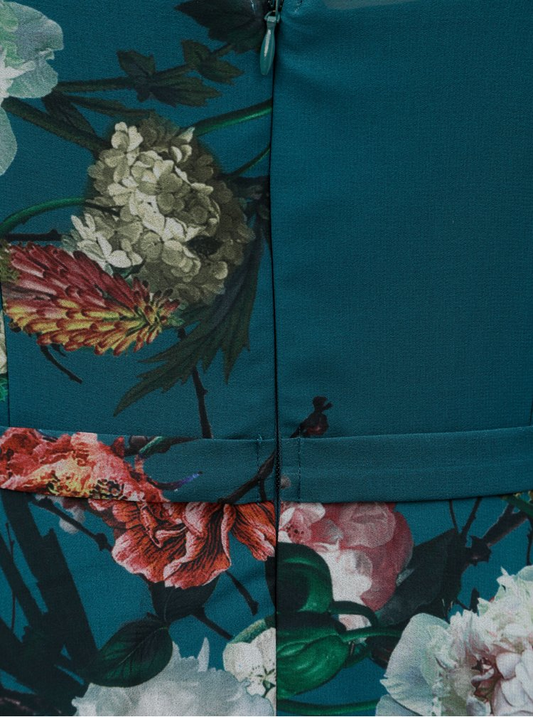 Rochie petrol florala cu detalii din dantela Little Mistress