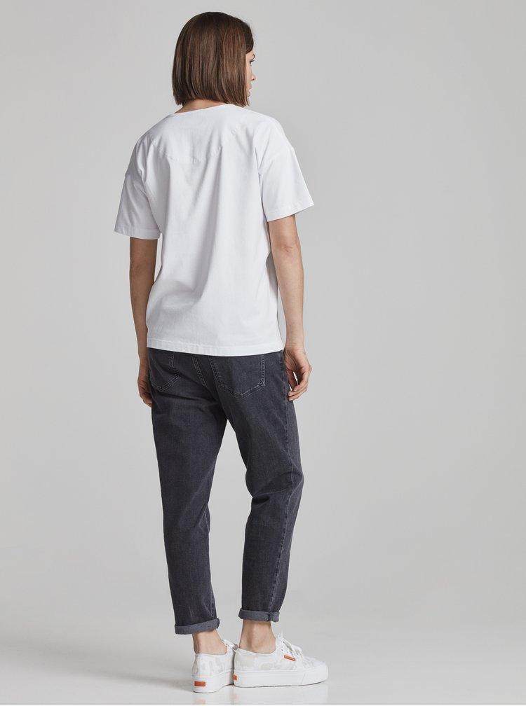 Tricou oversized alb cu buzunar pentru femei Makia