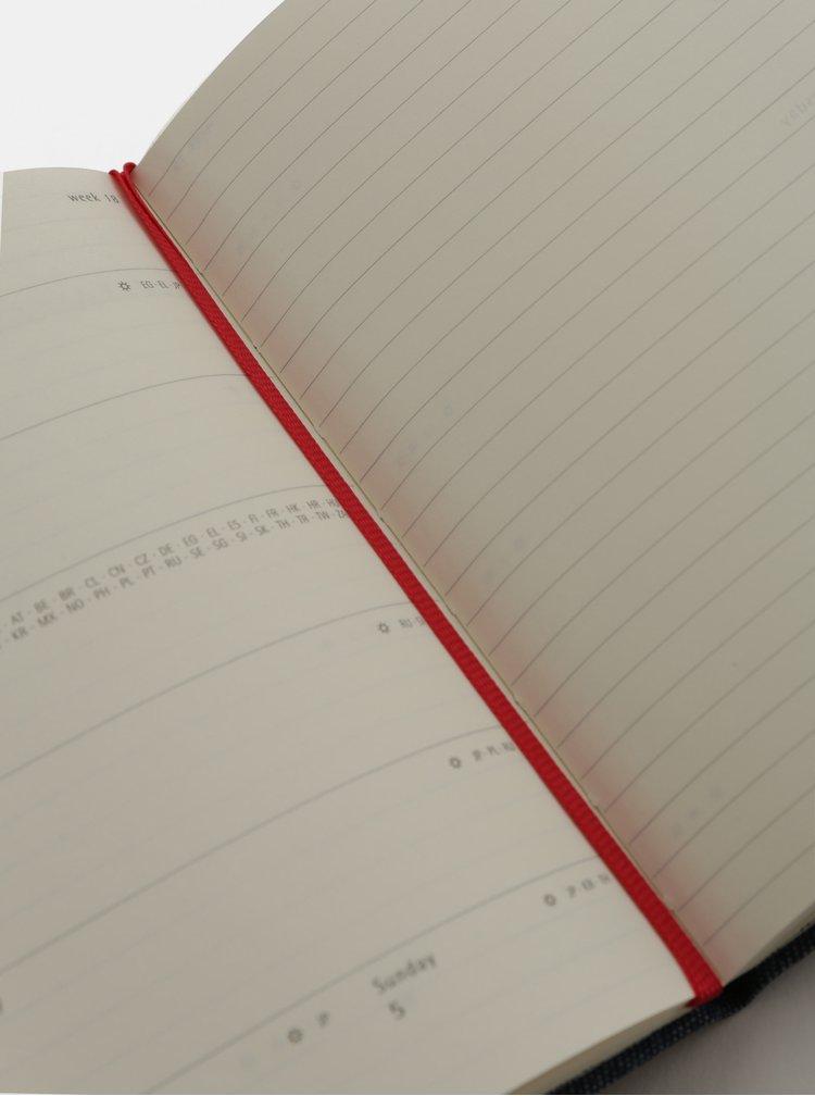 Modrý džínový týdenní mini diář se samolepkami na rok 2019 Moleskine A6