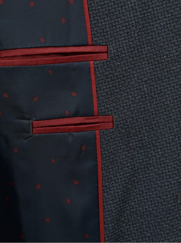 Tmavě modré oblekové sako s drobným vzorem Burton Menswear London