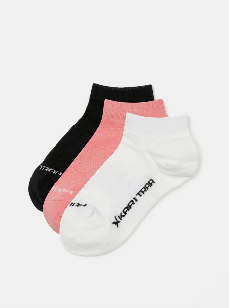 Sada tří párů ponožek v růžové, bílé a černé barvě Kari Traa