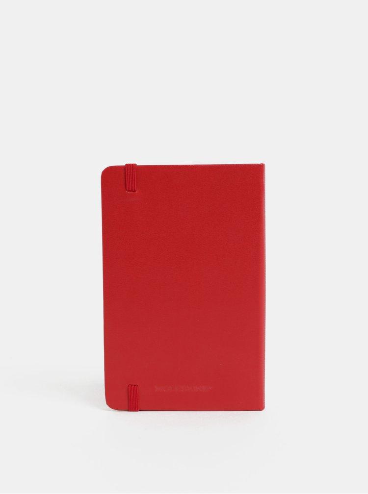 Červený  linkovaný mini zápisník s pevnou vazbou Moleskine A6