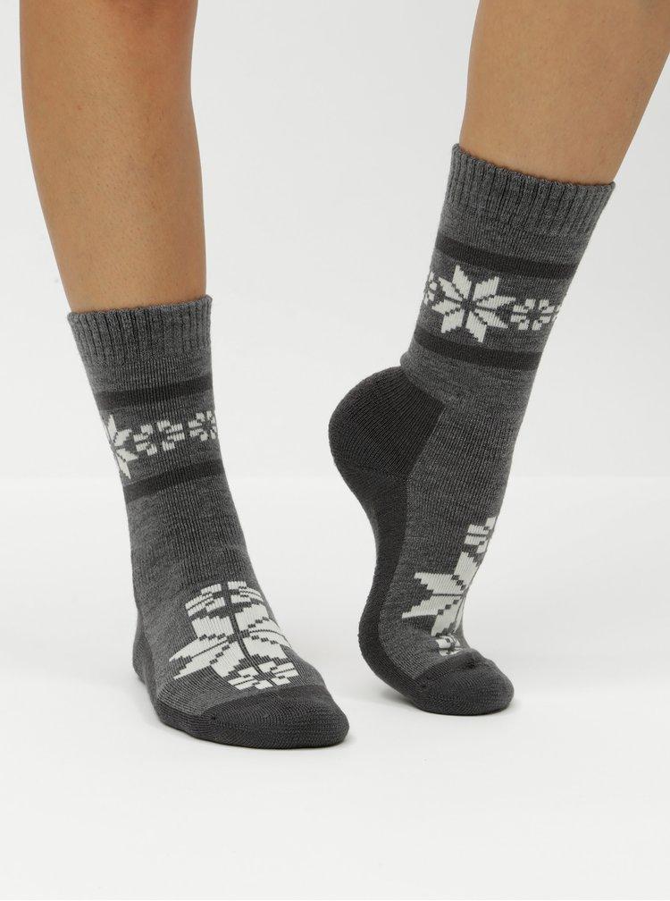 Sada dvou párů zimních ponožek v krémové a šedé barvě s příměsí vlny Kari Traa