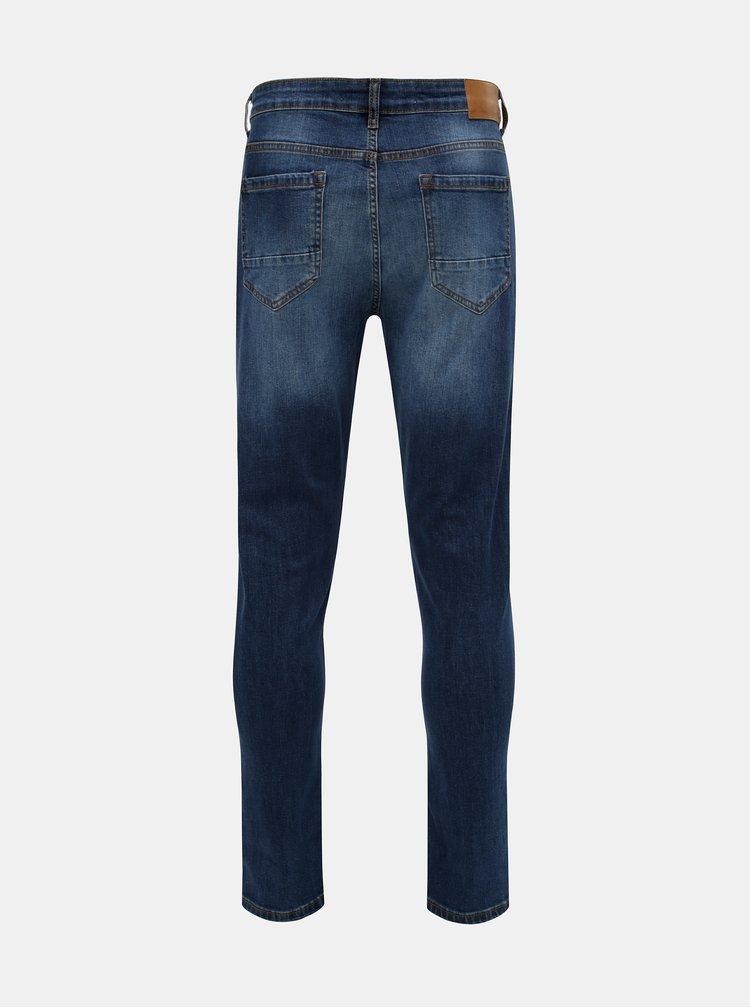 Tmavě modré slim fit džíny s vyšisovaným efektem Burton Menswear London